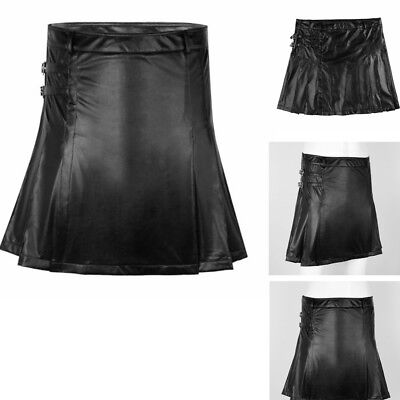 Real Mens BLACK Leather Gladiator Pleated Kilt FLAT FRONT Pocket Wrap Style