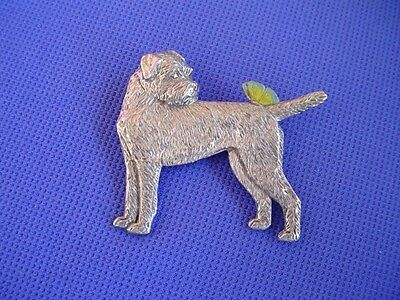 Border Terrier and Butterfly Pin #73B Pewter Dog Jewelry by Cindy A. Conter