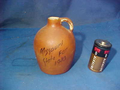 1940 MINIATURE Stoneware SAMPLE WHISKEY JUG from MISSOURI STATE FAIR