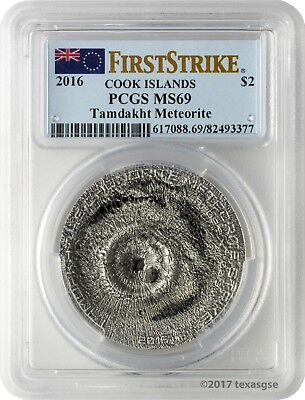 2016 $2 Cook Islands Tamdakht Meteorite Strike .999 Silver Coin PCGS MS69 FS