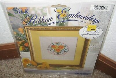 Bucilla Silk Ribbon Embroidery Kit~~ Flower Of The Month~~March~~Nip