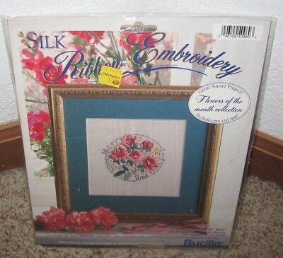 Bucilla Silk Ribbon Embroidery Kit~~ Flower Of The Month~~June~~Nip