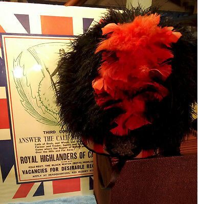 Canadian Black Watch Highland Regimental Military Ostrich Feather Bonnet