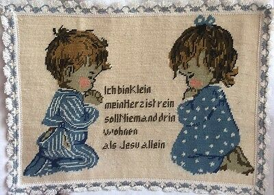 Vintage  German Cross Stitch Of Boy /Girl With Prayer. Framed With German Lace