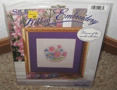 Bucilla Silk Ribbon Embroidery Kit~~ Flower Of The Month~~September~~Nip