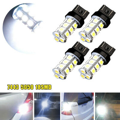 4x 7443 7440 T20 White 18SMD Stop Reverse Tail Brake LED Light Bulbs 6000K Lamp