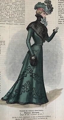 French MODE ILLUSTREE SEWING PATTERN Oct 16,1898 BALL, THEATER, VISTING DRESSES