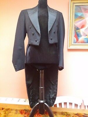 VINTAGE MENS DRESS TAILS COAT BLACK WOOL 1920s EXCEPTIONAL QUALITY