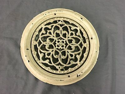 "Antique Cast Iron Round Floor Heat Grate Register Victorian Vtg 10"" 787-17E"