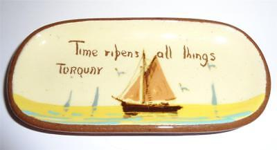 ANTIQUE WATCOMBE TORQUAY WARE PIN TRAY c 1900 TIME RIPENS ALL THINGS