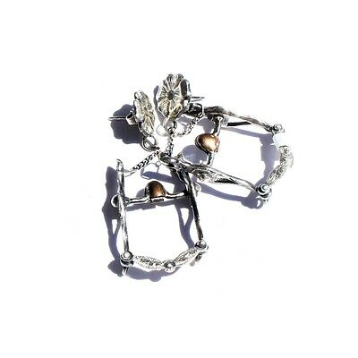Sterling Silver un-Signed Novelty Figural Articulated Western Show Bit Earrings