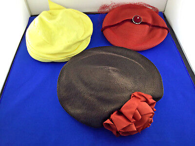 Lot of 3 Vintage Woman's Ladies Hats Union Made Karen Hats
