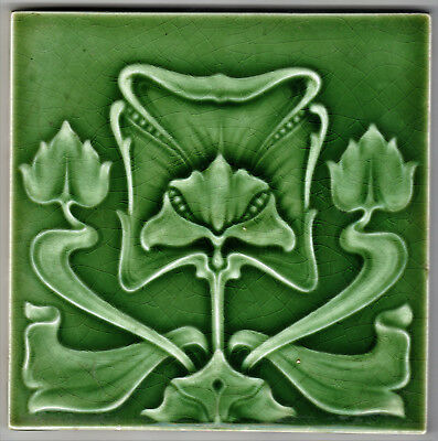 Edwardian Tile Majolica Molded Art Nouveau Design  6In. Square By 3/8In. Thick