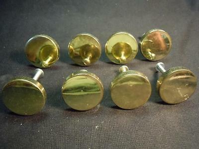 "Xo]  8 Pc Set Of Antique(?) Brass Drawer Pulls/knobs - 1 3/8"" Diameter"