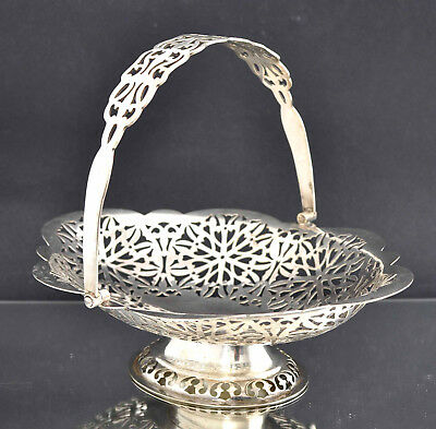 Vintage c1920s Silver Plated EPNS Pierced Swing Handle Pedestal Fruit Bowl