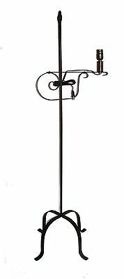 Hand Forged Black Wrought Rod Iron Floor Lamp Flame USA Made - Country Classic