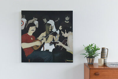 Large Original Artist's Painting of a 1970s Musician Scene, Acrylic on Canvas