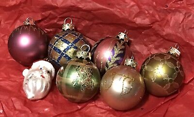 Lot of 7 Dept 56 Mercury Glass Christmas Ornaments 2""