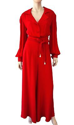 NOLAN MILLER Red Silk Crepe Wide Leg Evening Pants and Button Down Blouse S