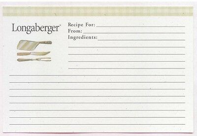 24 Deluxe Longaberger Kitchen Utensils Green Check 4 x 6 Recipe Cards New 0 ship