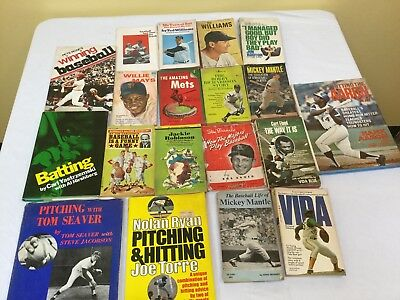 Vintage lot of 19 Baseball Books 1960's - 1970s Mays Mantle Musial Rose Aaron +