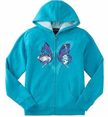 Calvin Klein Girls Sherpa Lined Zip Hoodie Jacket Butterfly Blue Sz-M 10-12