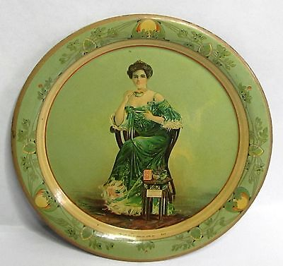 1905 KENNEY CHE-UN-TEA Victorian Lady sipping TEA tin litho tip tray ashtray