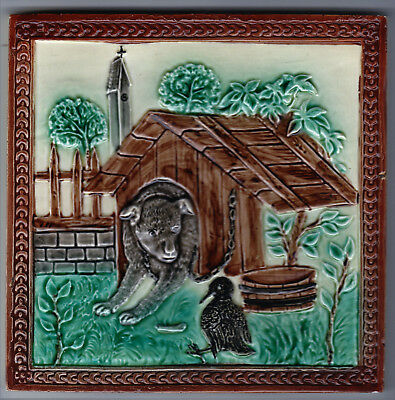 Tile Majolica Molded Design 6In. Square By 3/8In. Thick Glazed All Over German ?