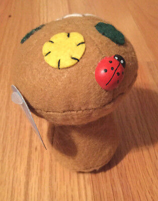 Needle pin cushion in a shape of mushroom or a tree stump, soft, new.