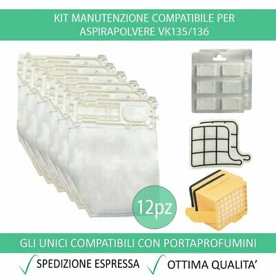 Kit 12 Sacchetti Compatibile Per Vorwerk Folletto VK135/136 + 12 Profumini + 2 F