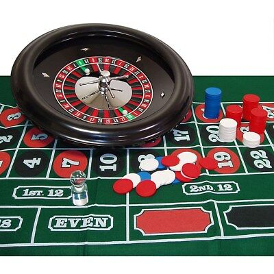 "Roulette Set with 18"" Wheel, Casino Game Layout, Marker and 100 8.5 Gram Chips"