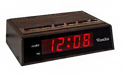 "Westclox 0.6"" LED Display Snooze Woodgrain Electric Alarm Clock 22690"