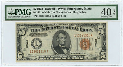 1934 $5 Hawaii WWII Emergency Issue Federal Reserve Note PMG XF 40 EPQ Mule