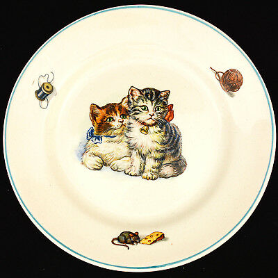 Vintage Egersund Norway Plate Pair Of Kittens Yarn Mouse W/ Cheese Charming EUC!