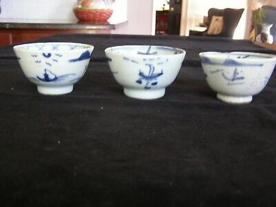 3 Antique Blue & White Chinese Pottery Teacups Possibly the Ming Dynasty