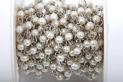 1yd Ivory Cream Pearl Rosary Chain, Silver, 4mm round glass beads fch0415a