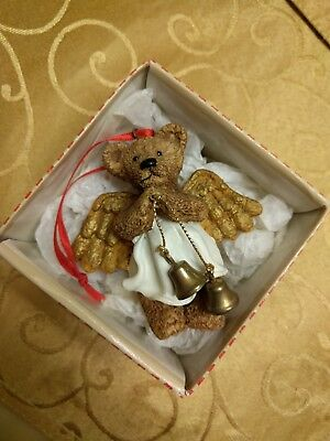 Holly Bearie Angel with Bells Christmas Ornament