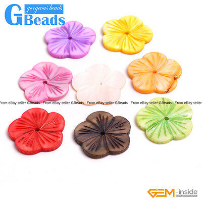 30mm Flower Colorful MOP Shell Beads DIY Jewelry Making Design Beads 6 PCS