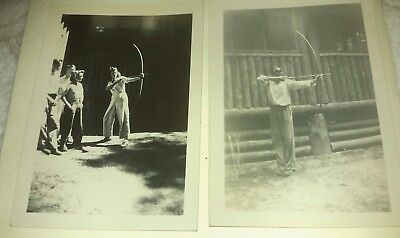 2 Vintage Old 1940's Photos of Boy & Girl Archers Pulling Back Bow and & Arrows