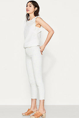 NEW Esprit Womens Cropped trousers with a soft floral print OFF WHITE