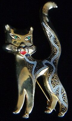 Vintage Damascene Cat Pin Gold Tone Green Eyes Jewelry Brooch ~ FREE SHIPPING