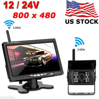 """For RV Truck 7"""" Monitor+Wireless IR Rear View Backup Camera Night Vision System"""