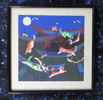 Japanese Ink Watercolor Framed Nighttime Cats Climbing Pagoda ~ FREE SHIPPING