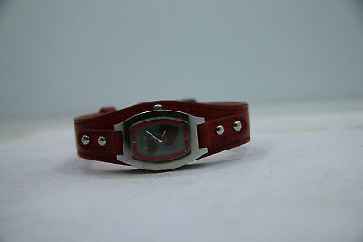 Relic by Fossil Digital Heart Red Leather Cuff Watch New Battery Womens Watch