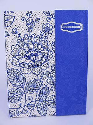 BLUE LACE A5 Address Book 200 x 165mm 124P Flip Lock AB45***^