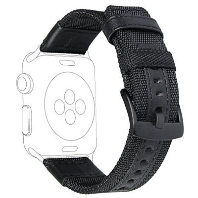For Apple Watch Band 42mm Women Men Woven Nylon Wrist Straps with Genuine Leathe