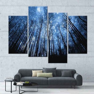 Landscape Canvas Print Stars Sky Trees Modern Forest Wall Art Home Decor 4 PCS
