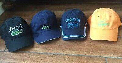 RARE LACOSTE Lot Of 4 Vintage Baseball Hat Large Croc Logo Blue Black orange