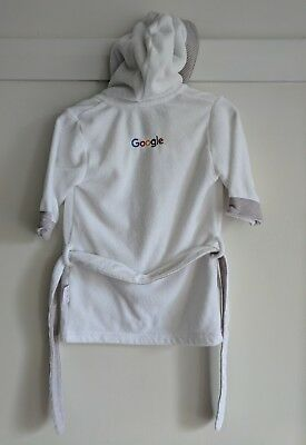 Google white 100% organic cotton baby dressing gown hooded towel bath robe sz 0