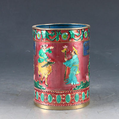 Chinese Cloisonne Handwork Carved Children&Cow Pen Holder W Qing Dynasty Mark
